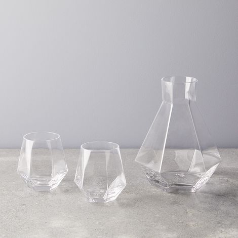 Faceted Crystal Carafe & Glasses