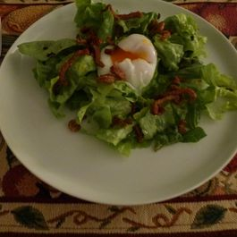 46f29e45 b698 4328 9fb0 37f5926c6814  salad with poached egg duck jerky crumbs crackling