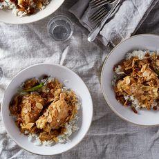 Bangladeshi-Style Creamy Chicken Korma with Crispy Shallots