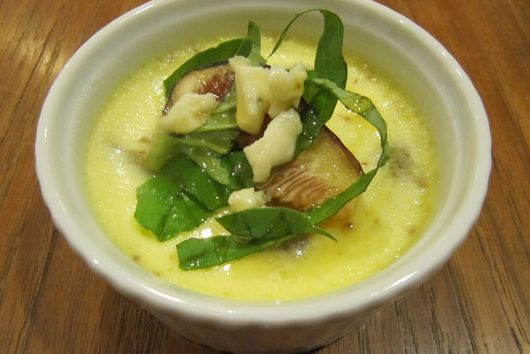 Fresh Fig Custard with Sweet Basil, Blue Cheese and Honey