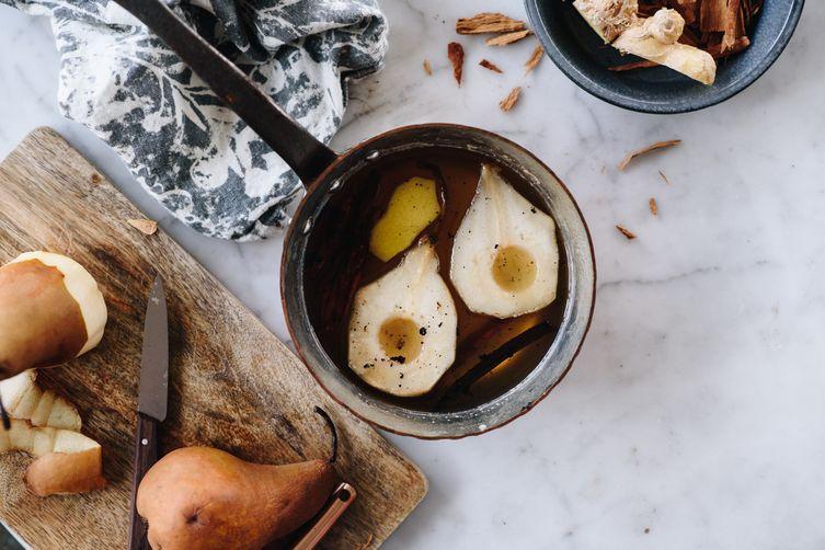 sarsaparilla poached pears w/ skyr and pecans