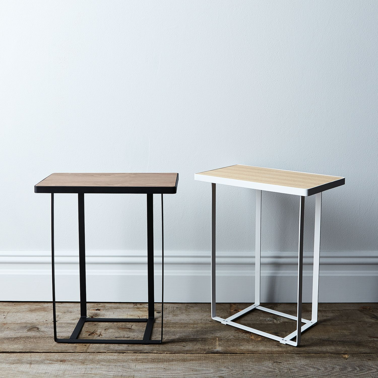 WoodTop Side Table On Food - Steel and wood side table