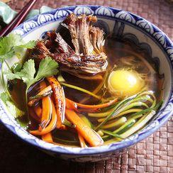 "Zucchini ""Udon"" with Momofuku-style Slow Roasted Pork and Poached Egg"