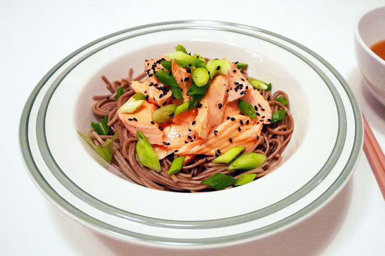 Miso and Ginger Poached Salmon with Warm Soba Noodles