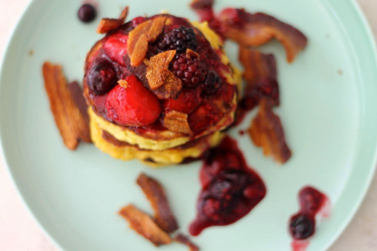 Coconut Banana Pancakes with Bacon and Berries