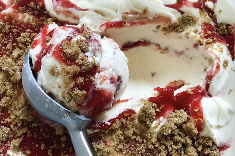 Cherry Pit Ice Cream with Cherry Ripple and Brown Butter Streusel