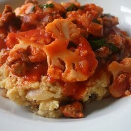 Caramelized Onion Polenta with Sausage and Cauliflower Ragu