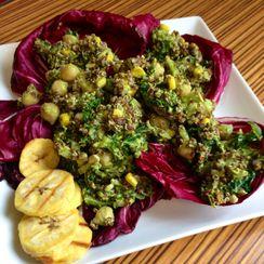 Raddichio-wrapped Quinoa Kale Taco Salad w/ Spicy Avocado Dressing