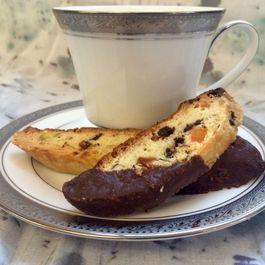 Limoncello Dark Chocolate Biscotti with Apricot and Pistachio