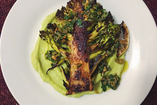 Buttery Romanesco Steaks and Puree with Caper-Parsley Salsa Verde