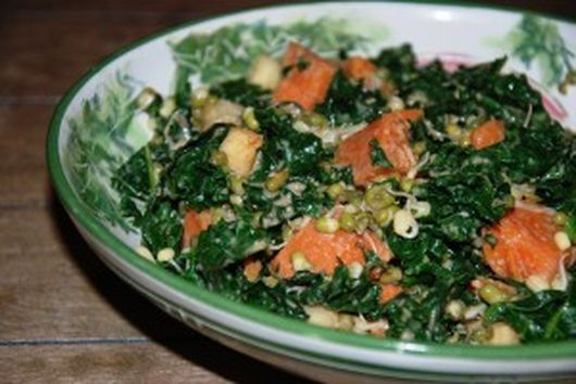 Kale, Sweet Potato, and Mung Sprout Salad with Miso Dressing