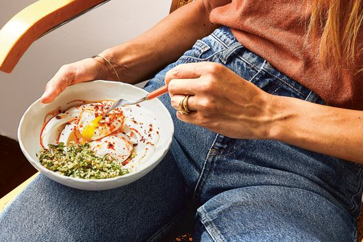 Eden Grinshpan's Poached Eggs with Freekeh Tabbouleh, Harissa & Yogurt