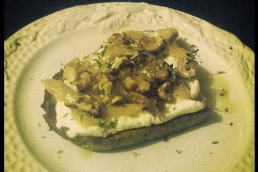 Ricotta Crostini with Confited Lemons, Thyme, and Walnuts
