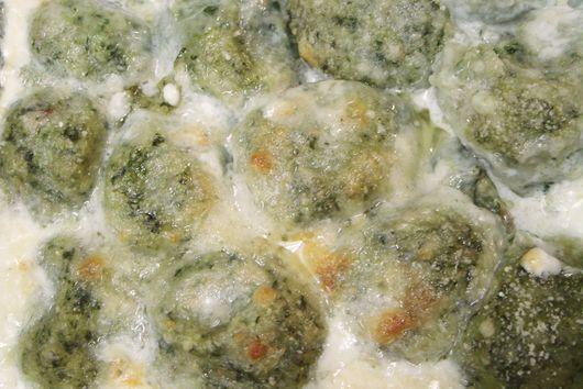 Broccoli Rabe Gnudis with Goat Cheese and Italian Sausages - Gnudi di Cime di Rapa e Caprino