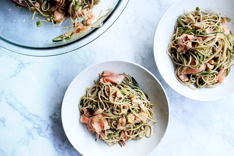 Soba Noodles with Cedar-Planked Salmon