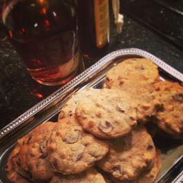 Salted Bourbon Dark Chocolate Chip Cookies