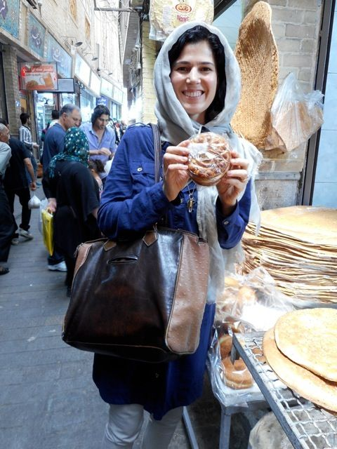 The author in her element at the Tajrish Bazaar in Tehran.