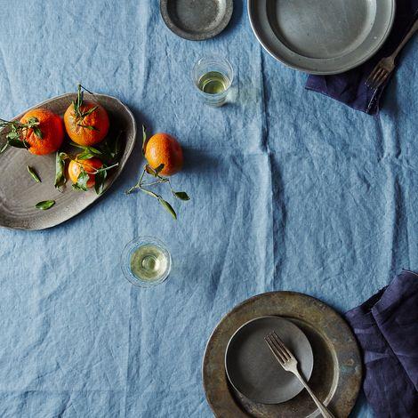 Blue Linen Tablecloth