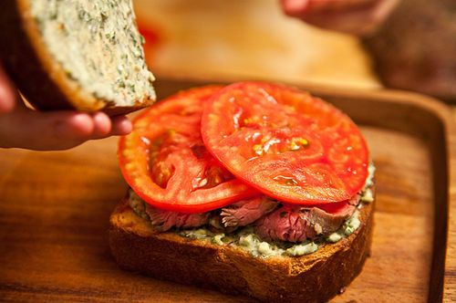 Flank Steak on Texas Toast with Chimichurri