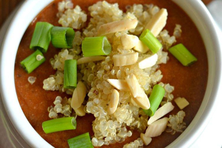 Tomato Peanut Butter Quinoa Soup