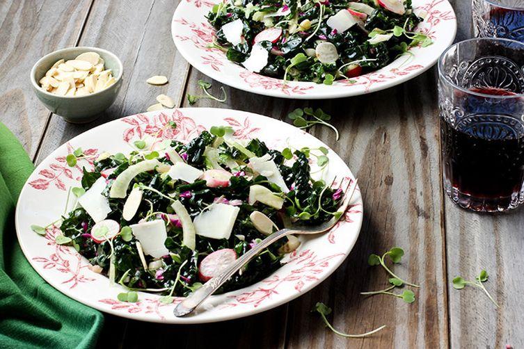 Spring Kale Salad with Tangerine Champagne Vinaigrette