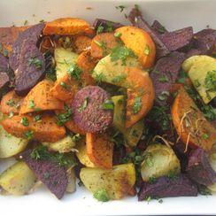 Tri colored roasted potatoes