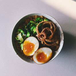 Underrated Oats - Savory Oats with Fried Onions and Soy Egg