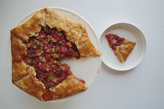 strawberry rhubarb + ginger galette