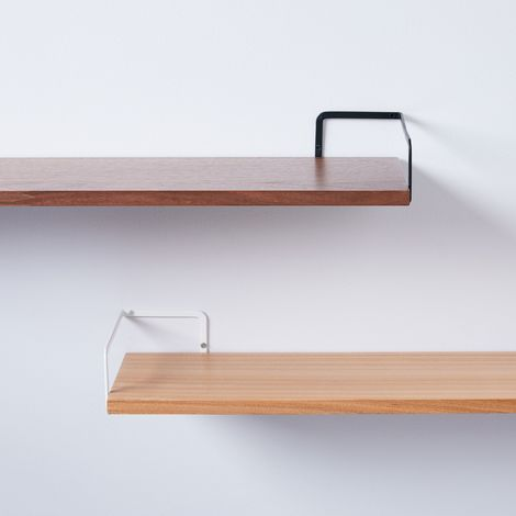 Steel & Wood Wall-Mounted Shelf