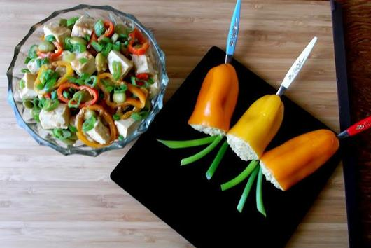 Baked Tofu, Pickled Edamame and Mini Peppers Appetizer