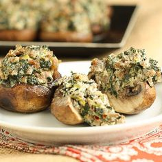 Sausage, Spinach & Cheese Stuffed Mushrooms