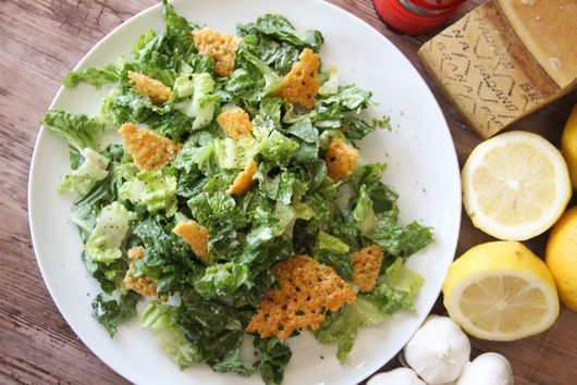 Caesar Salad with Garlicy Grana Padano Dressing and Frico Croutons