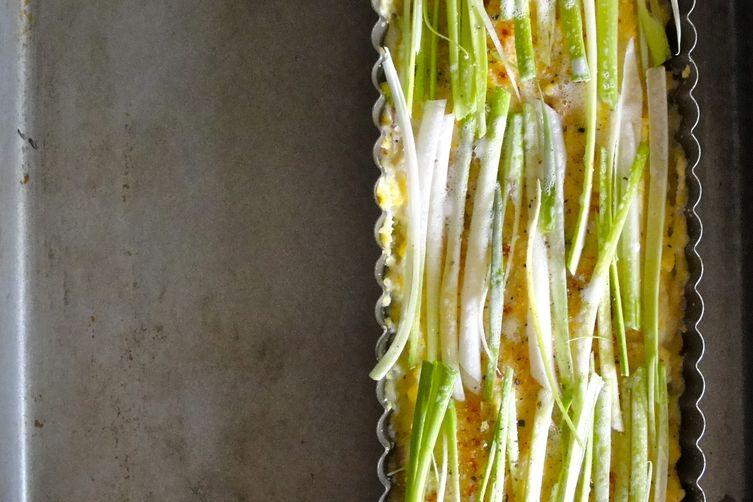 Spring Onion Polenta Tart