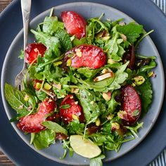 plum, date and pistachio salad with ginger lime dressing