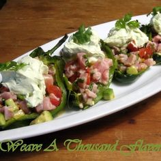 Tuna Ceviche Chile Rellenos with Avocado Crema
