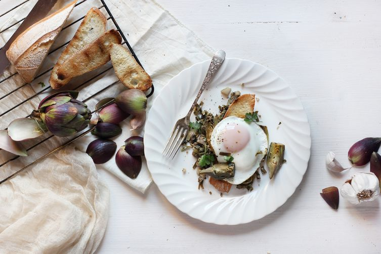 Artichoke and Pancetta Italian Skillet