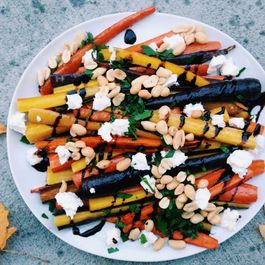 Roasted Carrots with Goat Cheese, Peanuts, and a Balsamic Drizzle
