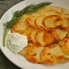 Skillet Potato Cake with Dill Sour Cream