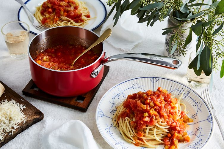 Marcella Hazan's Tomato Sauce with Olive Oil and Chopped Vegetables