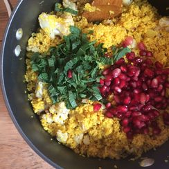 Turmeric Couscous Bowl with Cauliflower, Pomegranate and Mint