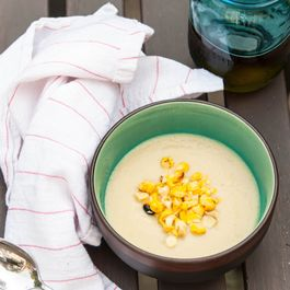 Grilled Corn and Artichoke Gazpacho
