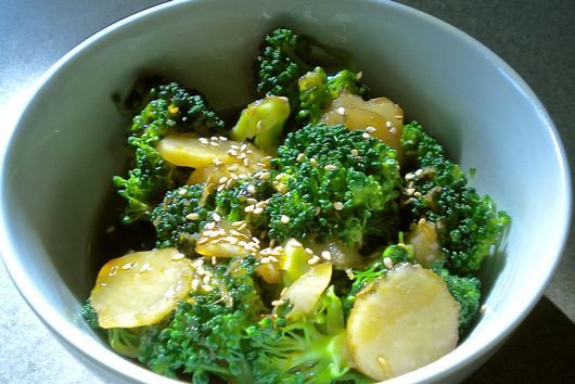 Orange Sesame Glazed Broccoli and Water Chestnuts