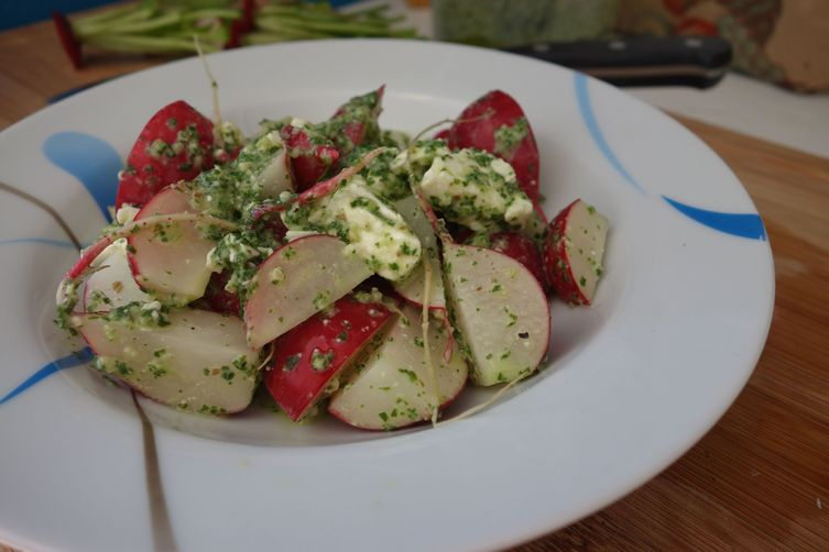 Double Radish Salad with Feta and Buttermilk Pesto Dressing