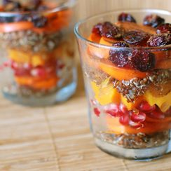 Winter Fruit and Quinoa Parfait with Spiced Cider Maple Syrup