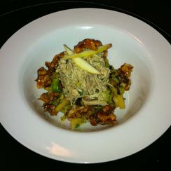 Apple-Brussels Sprouts Salad with Chicken Rillette