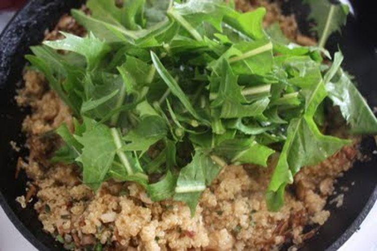 quinoa with wild mushrooms, black-eyed peas and dandies