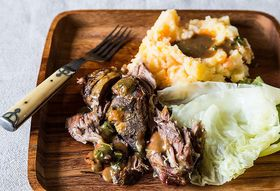 Jamie Oliver's Roasted Shoulder of Lamb with Smashed Veg & Greens