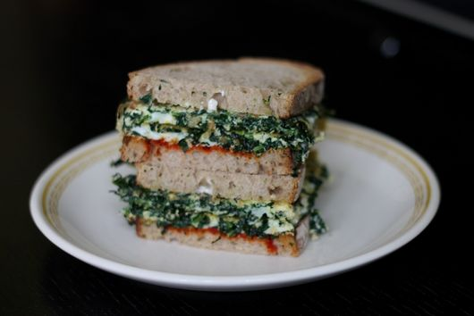Kale Omelet Sandwich with Harissa and Mayonaise
