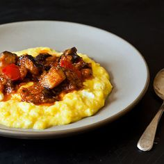 Yotam Ottolenghi's Sweet Corn Polenta with Eggplant Sauce