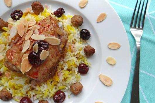 Iranian albalu polo (sour cherry rice)